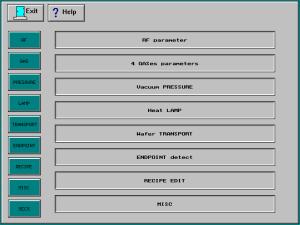 Matrix Plasma Asher Descum System -Modular Parameter Description menu